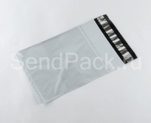 Курьерский пакет с карманом белый 165x240мм
